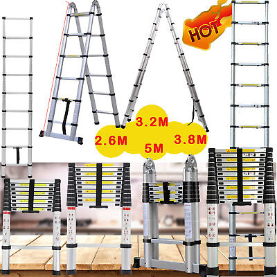 3.8/5M Portable Heavy Duty Multi-Purpose Aluminium Telescopic Ladder Extendable