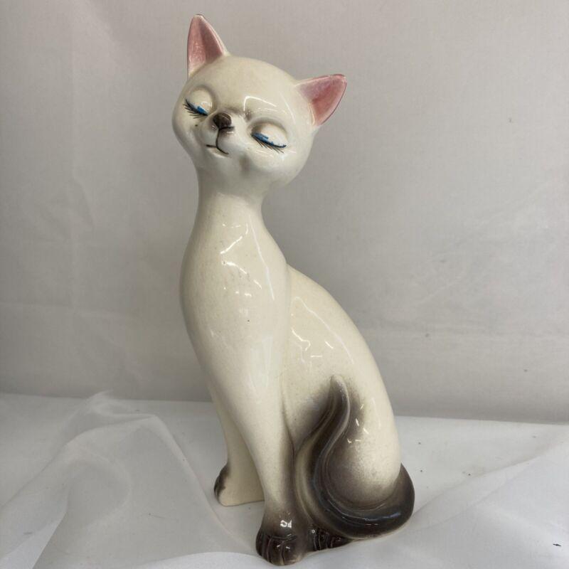 """VINTAGE 10"""" SIAMESE CAT FIGURINE JAPAN MCM MID CENTURY sitting eyes closed Sassy"""