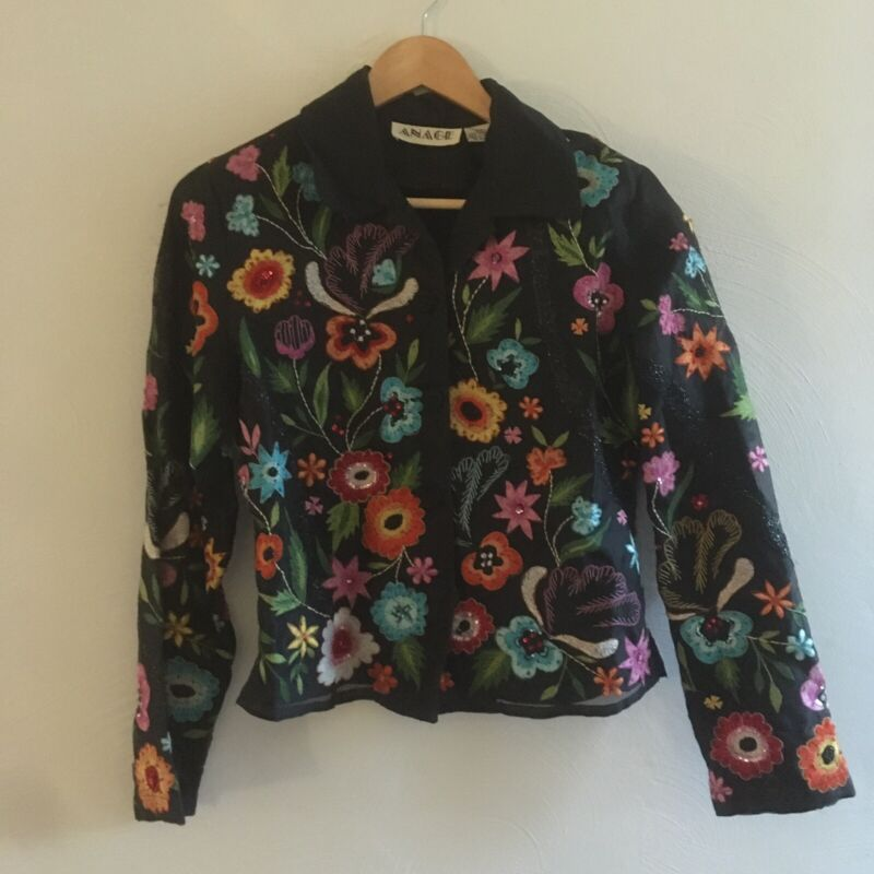 Vintage Anage Black Floral Embroidered 100% Silk Button Down Shirt Size XS
