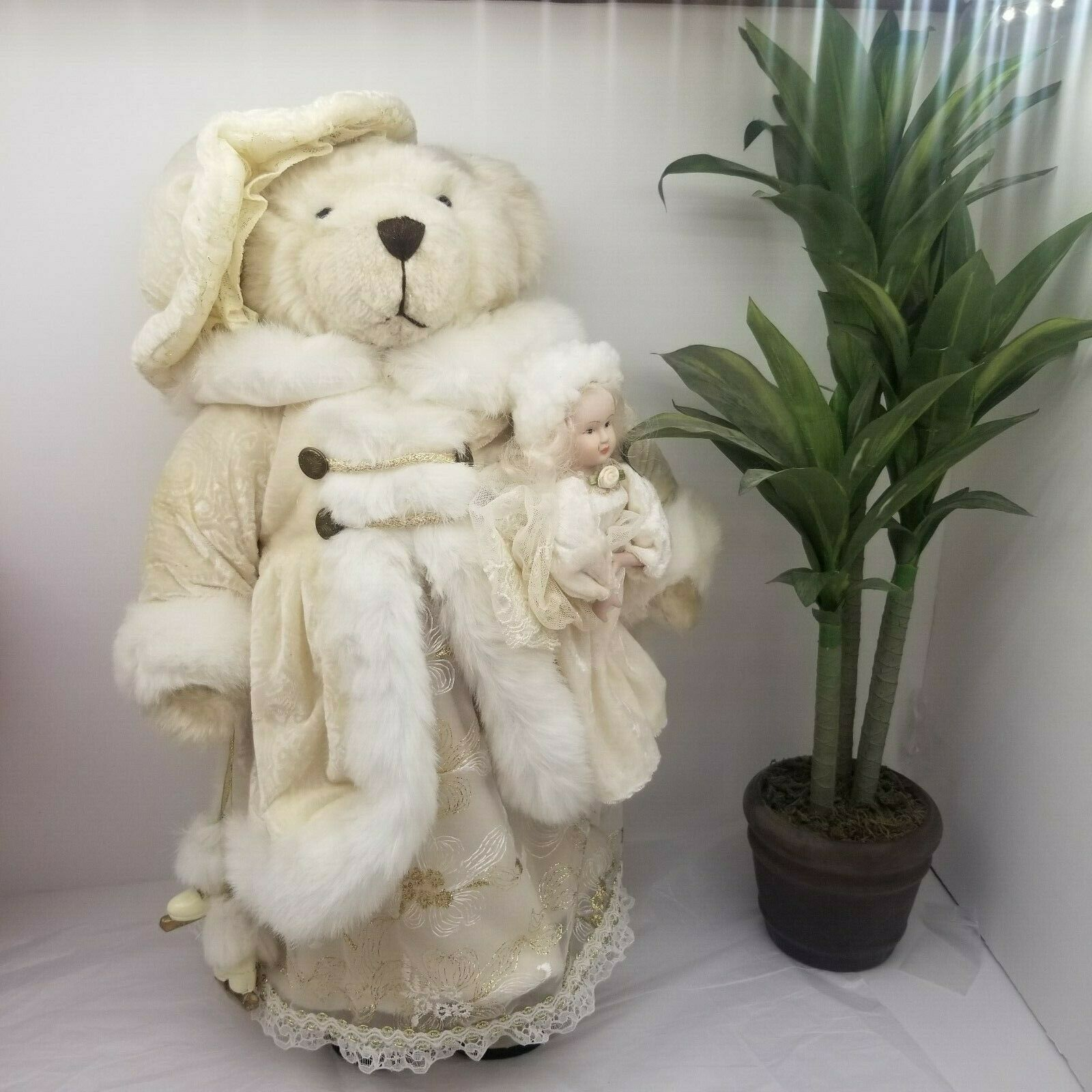 Creative Design Standing Teddy Bear Ivory Dress With Toy Doll And Wooden Skates  - $49.99