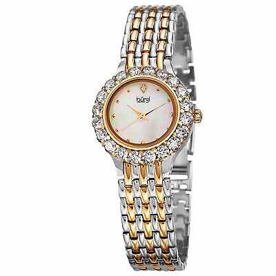Women's Burgi BUR107YG Swiss Quartz MOP Dial Large Accented Crystal Bezel Watch