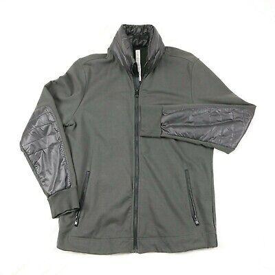 lululemon athletica zip jacket with puff collar mens L dark green