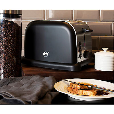 Ovation Black 2 Slice Wide Slot Toaster Fast Quick Toast Defrost Reheat Function