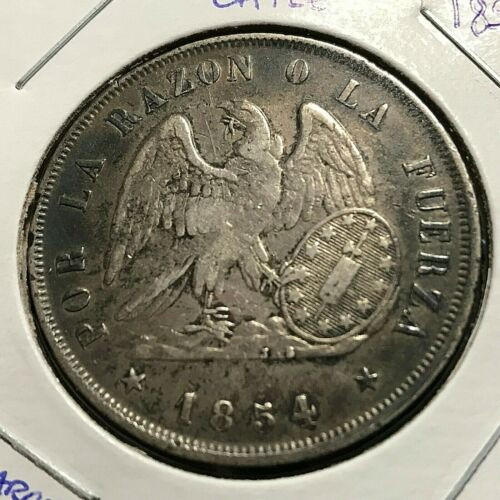 1854 CHILE SILVER ONE PESO CROWN SCARCE ISSUE
