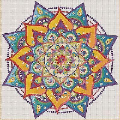 Colourful Fractal Mandala 420  Cross stitch chart FlowerPower37-uk
