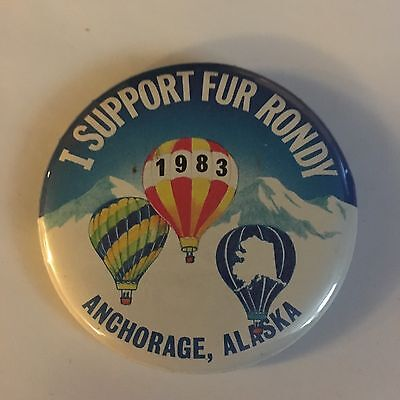 1983 Fur Roundy Official Button Anchorage Alaska. Pin Back