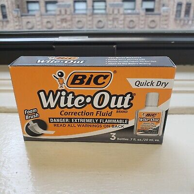 Bic Wite-out Quick Dry Correction Fluid 20 Ml Bottle White 3 070330506039