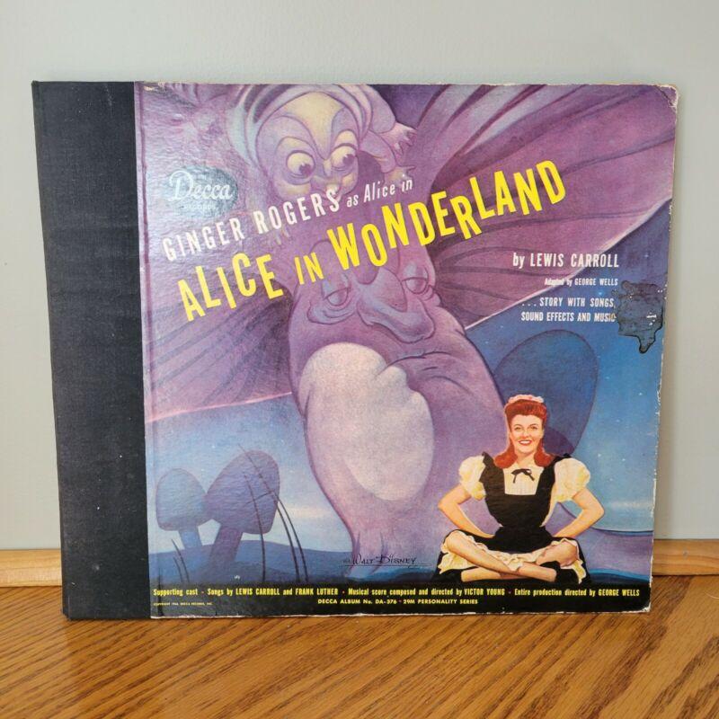 Original Disney Alice in Wonderland Record Decca Ginger Rogers 1944 Rare Good
