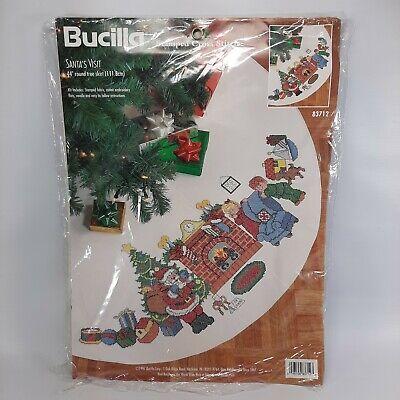 "Vtg Bucilla Cross Stitch Christmas Tree Skirt Santa's Visit 44"" Round"