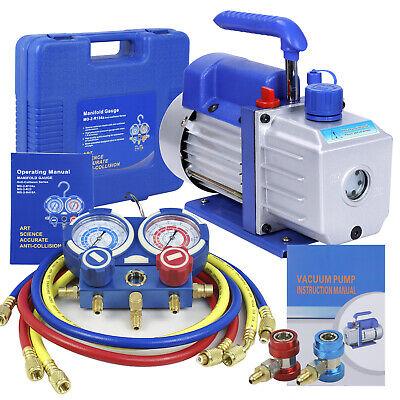 Vacuum 4CFM Pump VALVES MANIFOLD GAUGE R410A R134A R22 HVAC AC Refrigerant Set