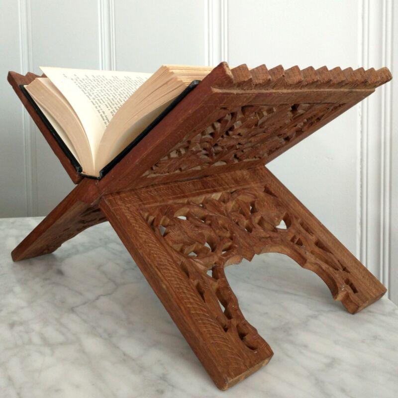 Carved Wood Open Book Folding Display Stand Leaf Art Library Holder Vtg Artisan