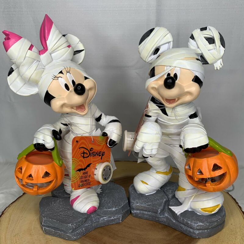 Disney Mickey Minnie Mouse Mummy LED Light-Up Halloween Garden Statue Brand New