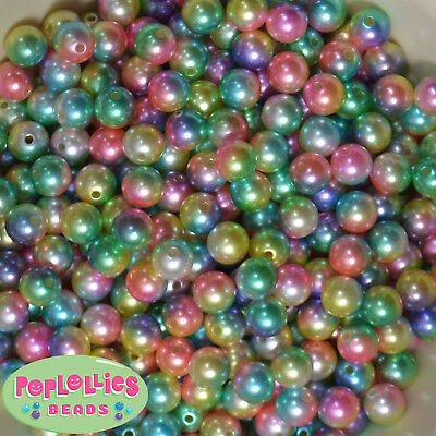 10mm Rainbow Multi color Pearl Finish Acrylic Bubblegum Beads Lot 50 - Rainbow Gumballs