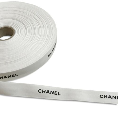 "Authentic Chanel Ribbon White Matte 1 Yard 1"" Wide Black Logo Gift Wrap Wrapping"