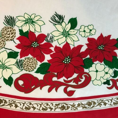 """VTG Christmas Poinsettia Round TableCloth Red White Floral 68"""" Holiday Linen"""