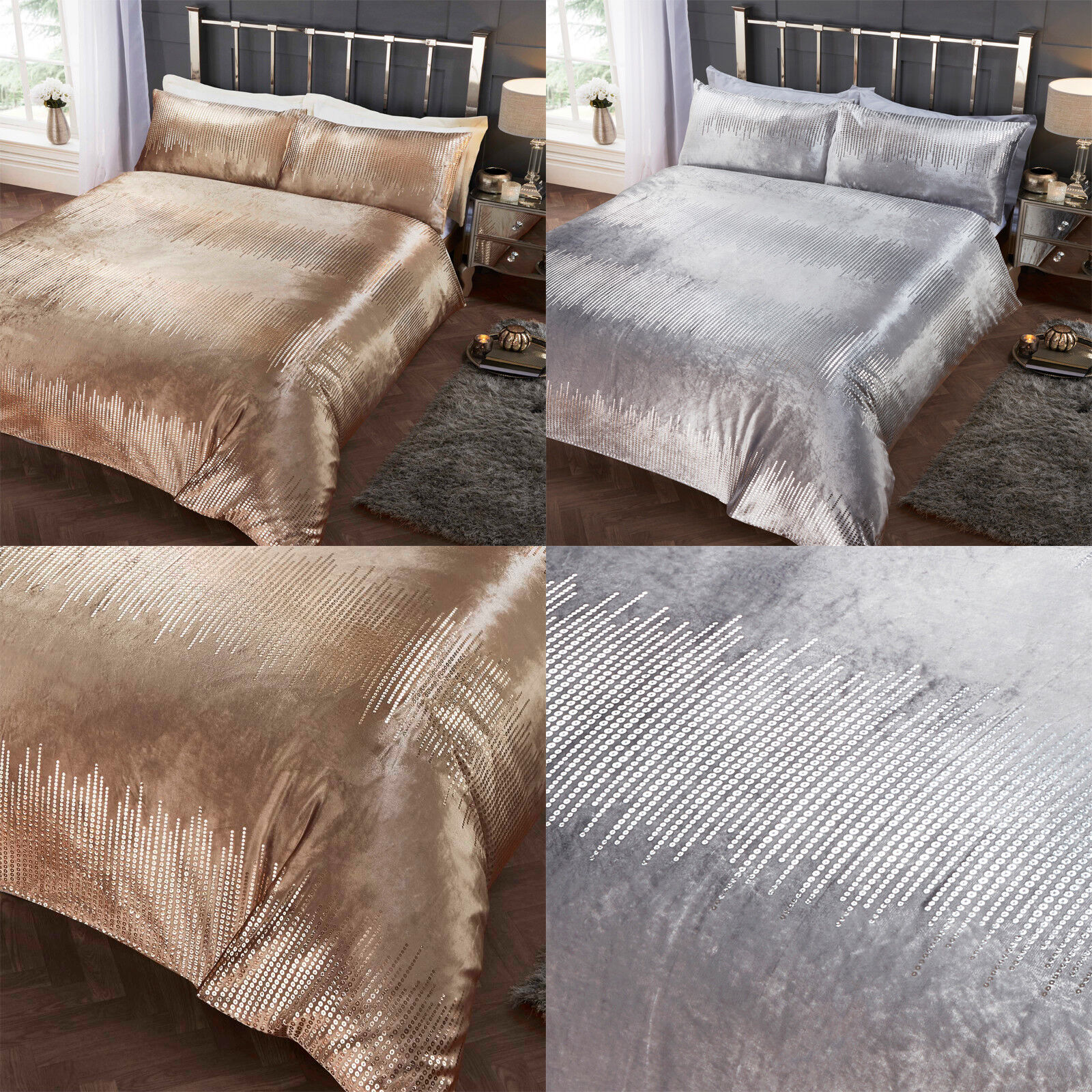 Tiffany Soft Velvet Metallic Print Sequins Duvet Quilt Cover Gold Silver Grey Ebay