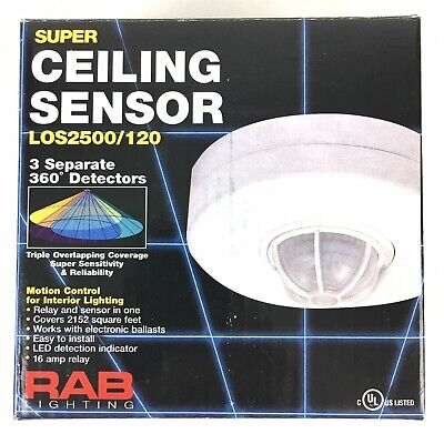 Rab Lighting Los2500120 Occupancy Sensor 2000w 120v Ceiling White Hardwired