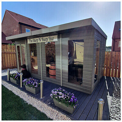 8 x 10 Pressure Treated Pent Summerhouse Gym Garden Office with Opening...