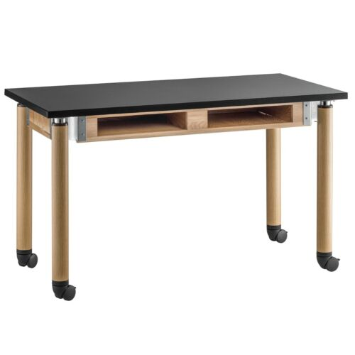 NPS Height Adjustable Mobile Science Lab Desk Table Oak Legs & Compartments