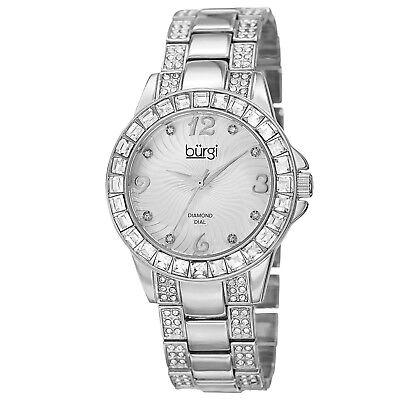 NEW Burgi BUR137SS Women's Crystal Baguette Bezel Embossed Swirls Silver Watch