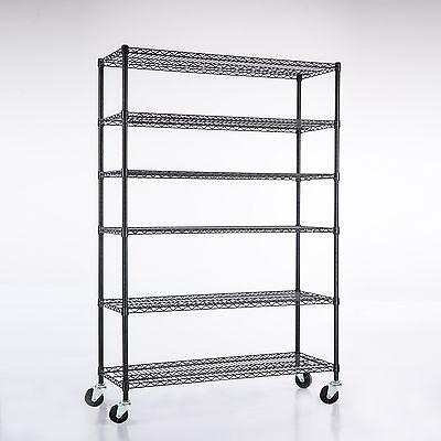 82x48x18 6 Tier Layer Wire Shelving Rack Heavy Duty Steel Shelf Adjustable