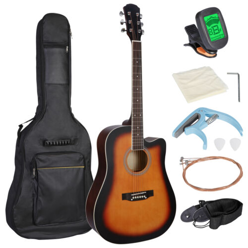 41″ Full Size Beginner Acoustic Guitar Set with Case Strap Capo Strings Tuner Acoustic Guitars