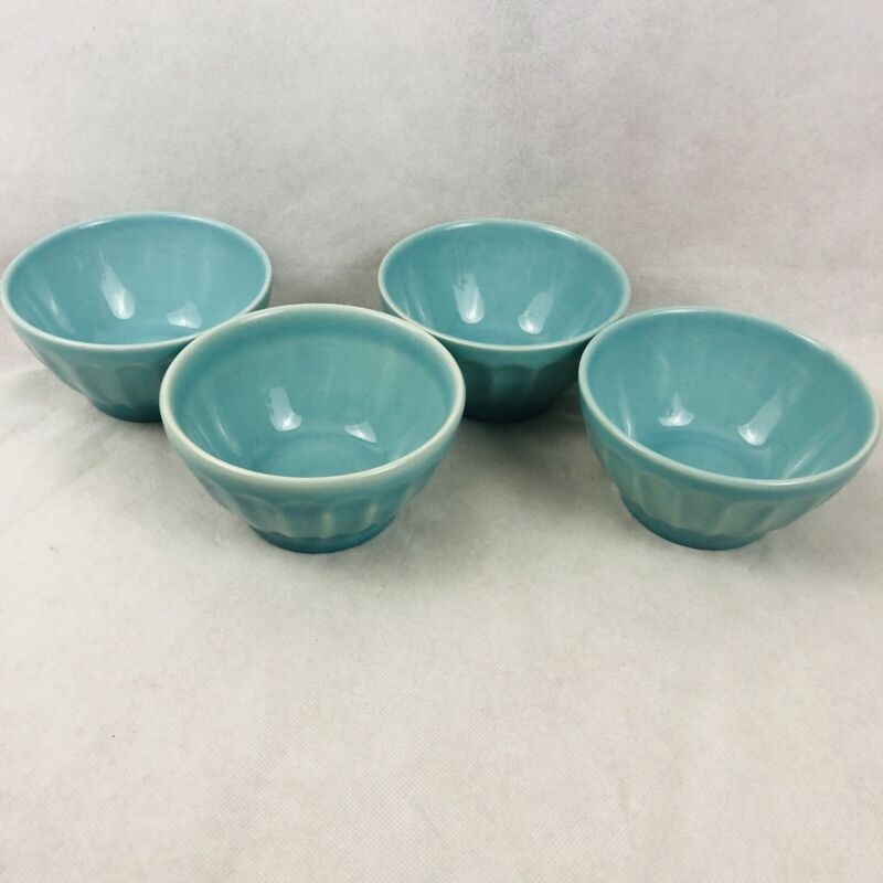 "Primagera Aqua Blue 5.5"" Bowls Made in Portugal Set of 4 Salad Ice Cream Dishes"