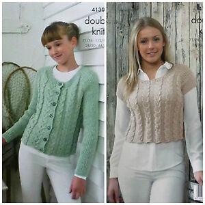 KNITTING PATTERN Ladies/Girls Cable Cardigan & Cropped Top Rib Sleeves DK 4130