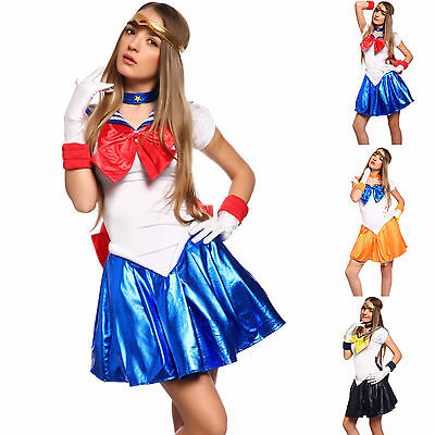 5tlg Cosplay Sailor Moon Venus Kostüm Schulmädchen Matrose-Uniform Mini Kleider