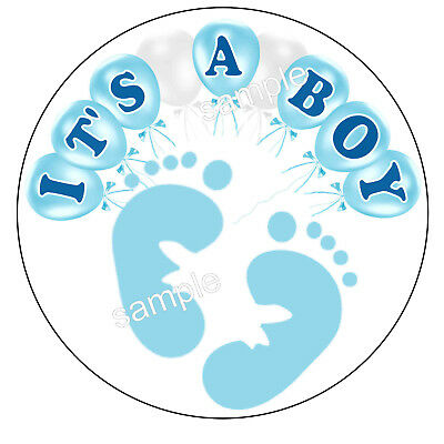 ITS A BOY GENDER REVEAL BABY SHOWER FAVORS LABELS STICKERS - 2 INCHES (Boy Gender Reveal)