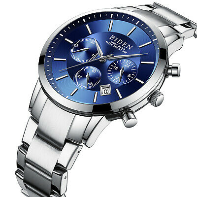 Mens Quartz Watch Blue Dial Solid Steel Belt Second Time Mens Best Gift (Best Blue Dial Watches)