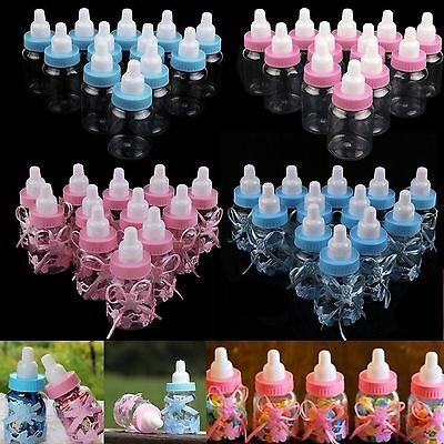 12 Fillable Bottles Baby Shower Christening Favor Table Party Decor Girls/Boy