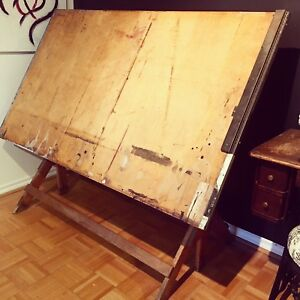 Antique Adjustable Height Drafting Table