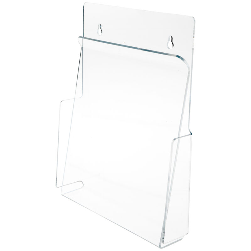 """Plymor Acrylic Pinch-Style Paper Holder (Wall-Mount), Fits 8.5"""" x 11"""" Items"""