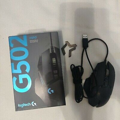 Logitech G502 HERO Mouse Wired RGB Custom Lighting w/ weights, Open Box
