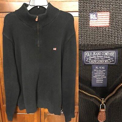 Polo Jeans Company Co Ralph Lauren Sweater 1/2 1/4 Zip Black RL Flag Logo Men XL