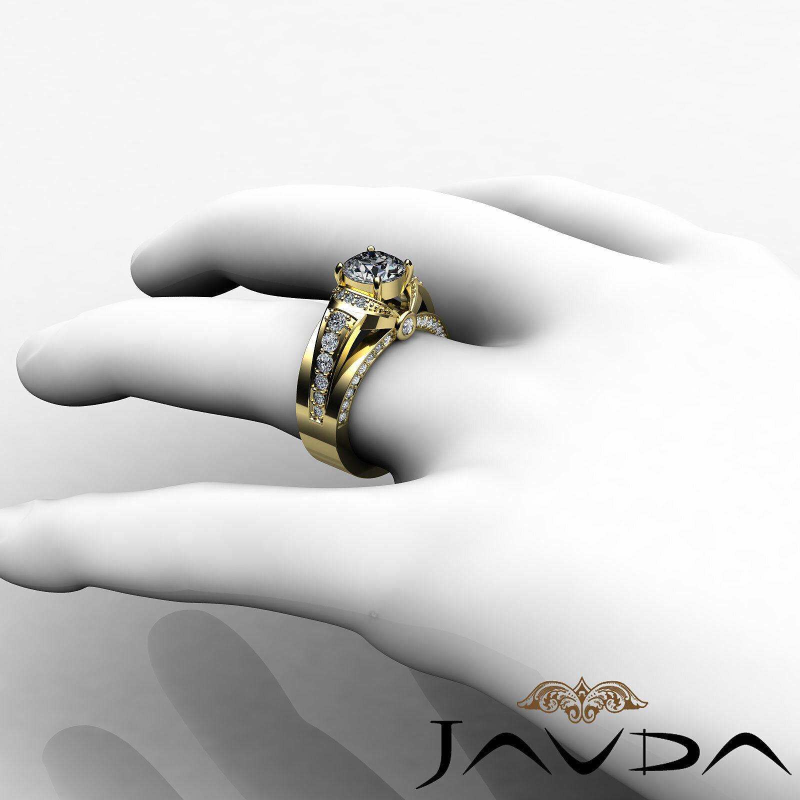 1.7ct Knot Classic Sidestone Round Diamond Engagement Ring GIA H-VVS2 White Gold 11