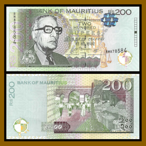 Mauritius 200 Rupees, 2010 P-61 With new Hologram Unc