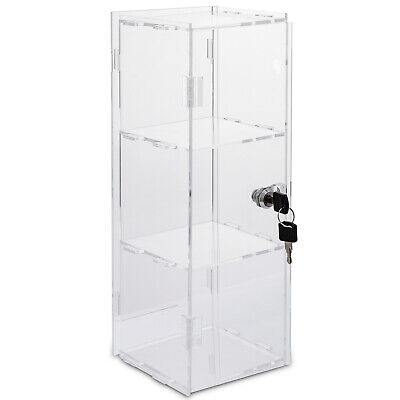 Acrylic Display Cabinet Unassembled 3shelves L9 X W9 X H18 Transparent Bakery