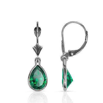 2.00CT 14K White Gold Bezel Set Pear Shaped Emerald Leverback Dangle Earrings