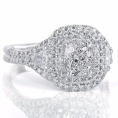 GIA Certified 2.17Ct VVS1 Cushion Cut Trapezoid Side Diamond Engagement Ring 18k