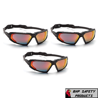 Pyramex Highlander Safety Glasses Sbb5055dt Sky Red Mir Lens Sunglasses 3 Pack