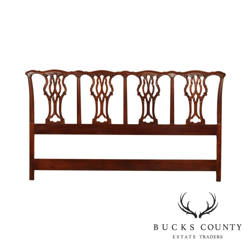 Chippendale Style Carved Mahogany King Headboard