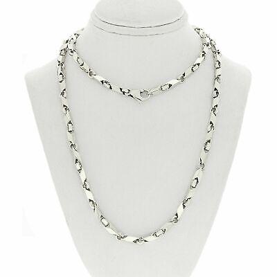 "Men's 14k White Gold Handmade Fashion Link Necklace 24"" 39.2grams"