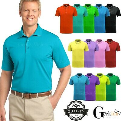 Mens Short Sleeve Polo Shirt - Men's Polo Shirt Dri-Fit Golf Sports Cotton T Shirt Jersey Casual Short Sleeve