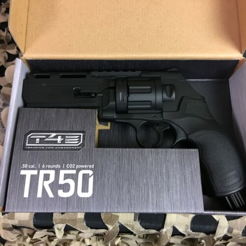 NEW Umarex T4E .50 CAL TR50 PAINTBALL REVOLVER - BLACK (7.5 Joules) W/ 5 Mags