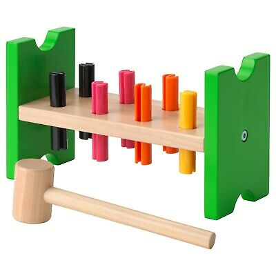 MULA Toy Hammering Block - Baby Toddler Kids Puzzle Learning Colors Wood Pegs