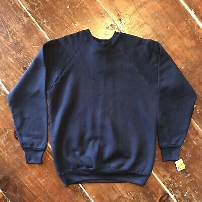 Vintage 80s Fruit Of Loom Raglan Sweatshirt Mens Large NOS NWT New Navy Crewneck Loom Raglan Sweatshirt