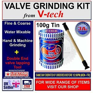 V-tech VALVE GRINDING KIT SET-LAPPING STICK TOOL+COARSE & FINE GRADE PASTE 110g