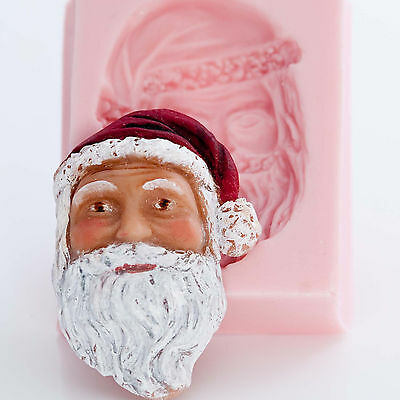 Santa Clause Silicone Mold Soap Wax Candle Chocolate Fondant Clay PMC Mold (520)